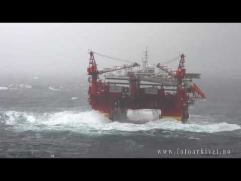 Accommodation platform Floatel Superior in Storm in the North Sea