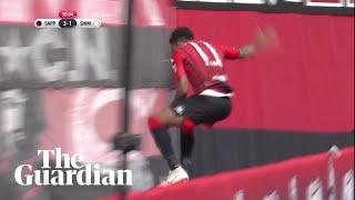 Goal celebration goes wrong as J-League striker misjudges drop behind advertising board