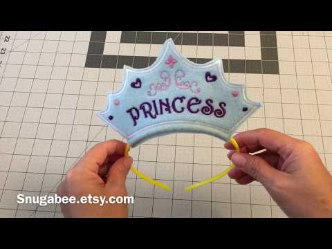 ITH Princess Headband Embroidery Design, in the hoop DIY princess crown tutorial