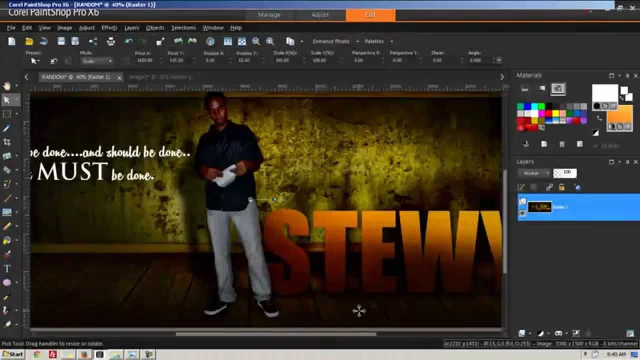Corel Paint Shop Pro X6 Tutorial Full Hd Graphic Design Lighting And Shadows Youtube