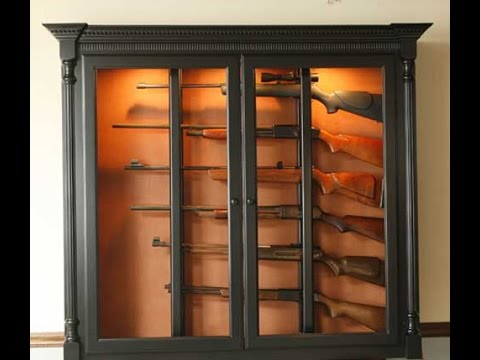 Building Gun Cabinet Plans Examples - YouTube