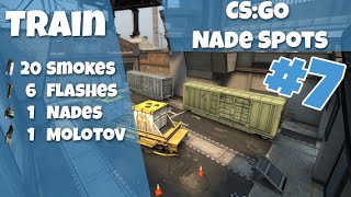 CS:GO Nade Spots Ep #7 - New Train 20 Smokes, 6 Flashes, 1 Grenade and 1 Molotov - Quick Version