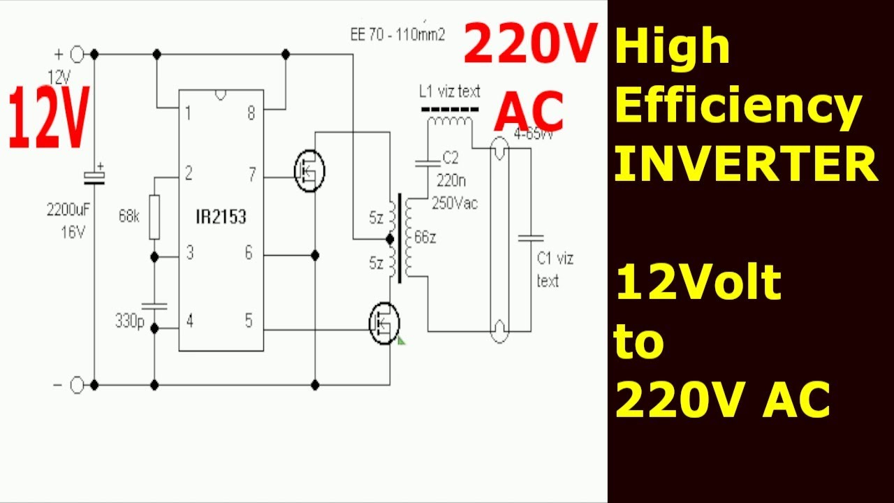 How to make an INVERTER for CCFL | 12V - 220V AC | IR2153