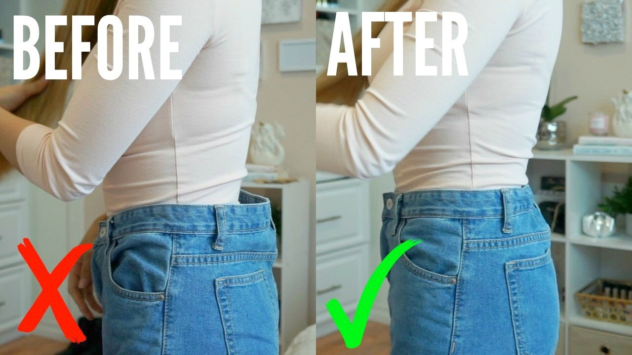 How To Easily Downsize Waist Of Jeans No Sewing Youtube