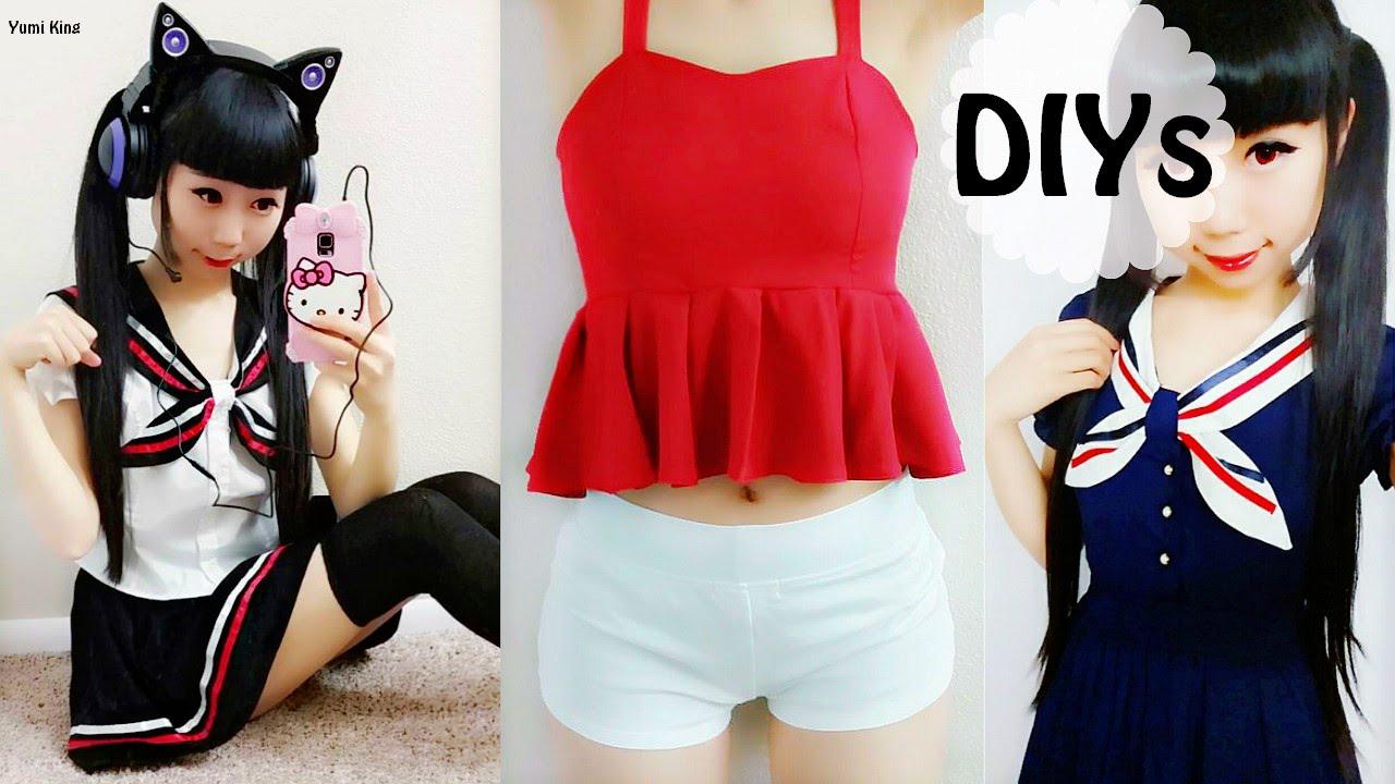69d500319243 DIY Clothes Transformations  DIY Peplum Top+Navy School Uniform+Cat Ear  Headphone Review - YouTube