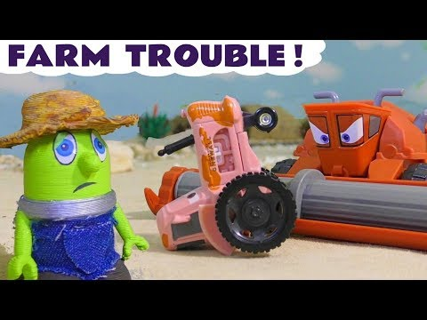Funny Funlings Farm Trouble with Disney Cars Mater and Frank - Fun toy story for kids TT4U