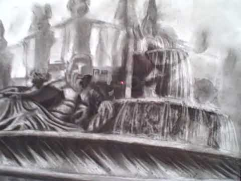 Fountain in Italy Drawn by Rebecca Figler of Montserrat College of Art