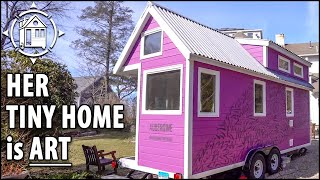 Young Woman Builds Artsy TINY HOUSE w/ Fold Away Staircase!