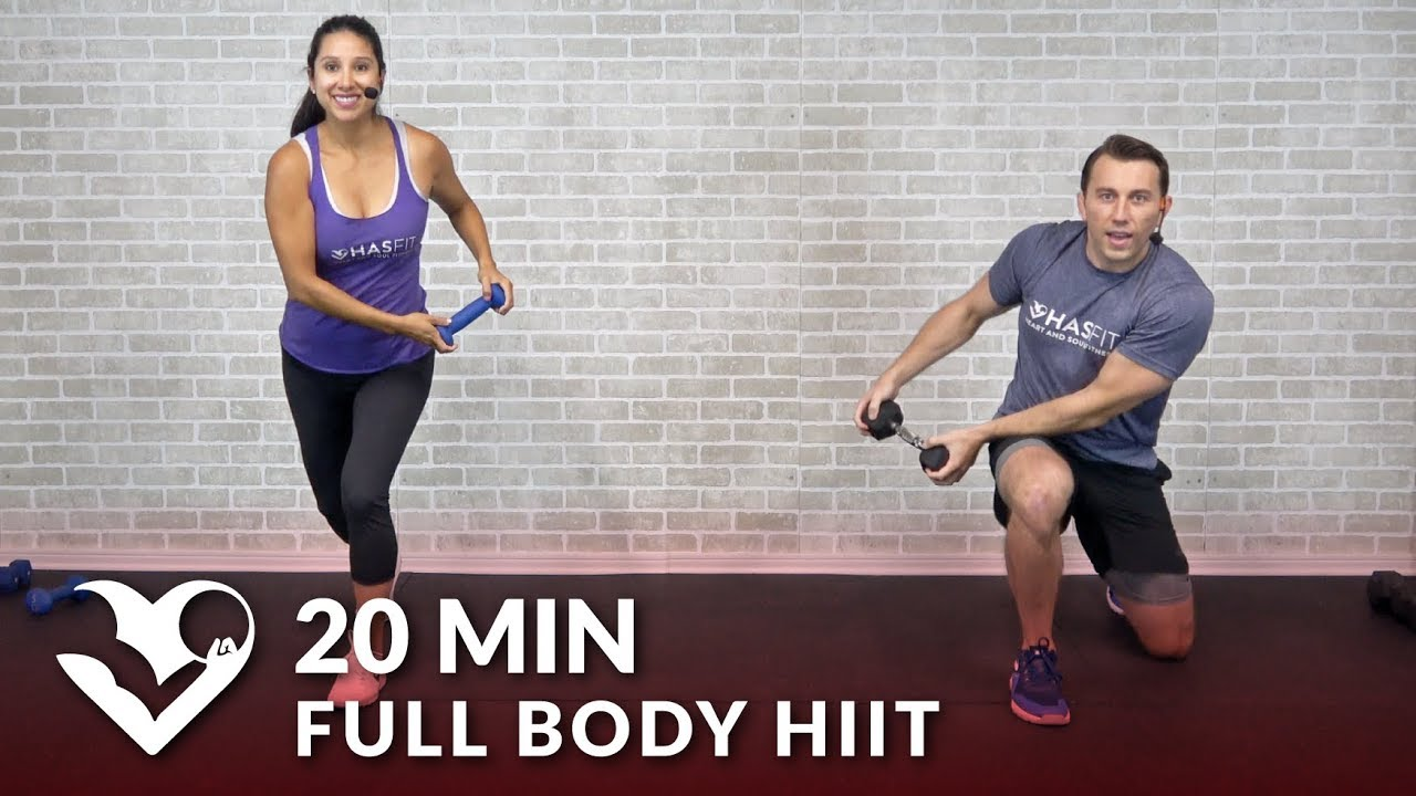 20 Min Full Body HIIT at Home with Dumbbells - Total Body 20 Minute HIIT Workout with Weights