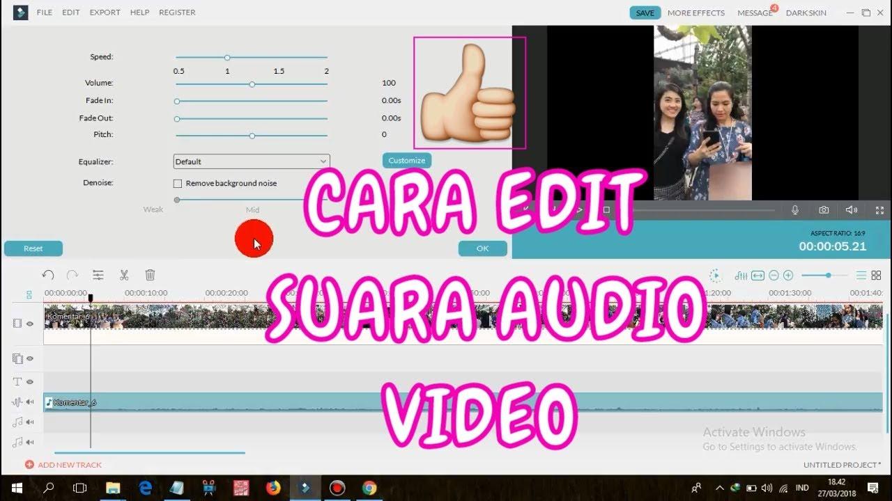 Cara Edit Suara Audio Video Di Filmora Youtube