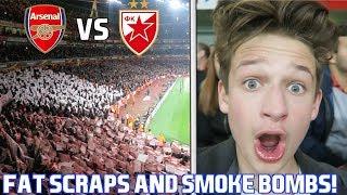 ARSENAL vs RED STAR BELGRADE! ArsenalFanTV FAT SCRAPS, SMOKE BOMBS and FLARES!