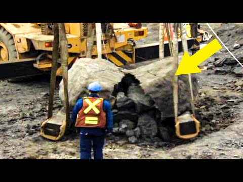 Excavator Busts Open Rock, Had No Idea What He's Done