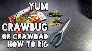 This video shows how I rig the Yum Crawdad/bug. Aside from a jig this is one of my favorite crawfish rigs. It's a hollow body bait and that makes it easy for hook ...