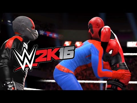 WWE 2K16 - SPIDERMAN VS DEADPOOL VS ANT-MAN - Ladder Match
