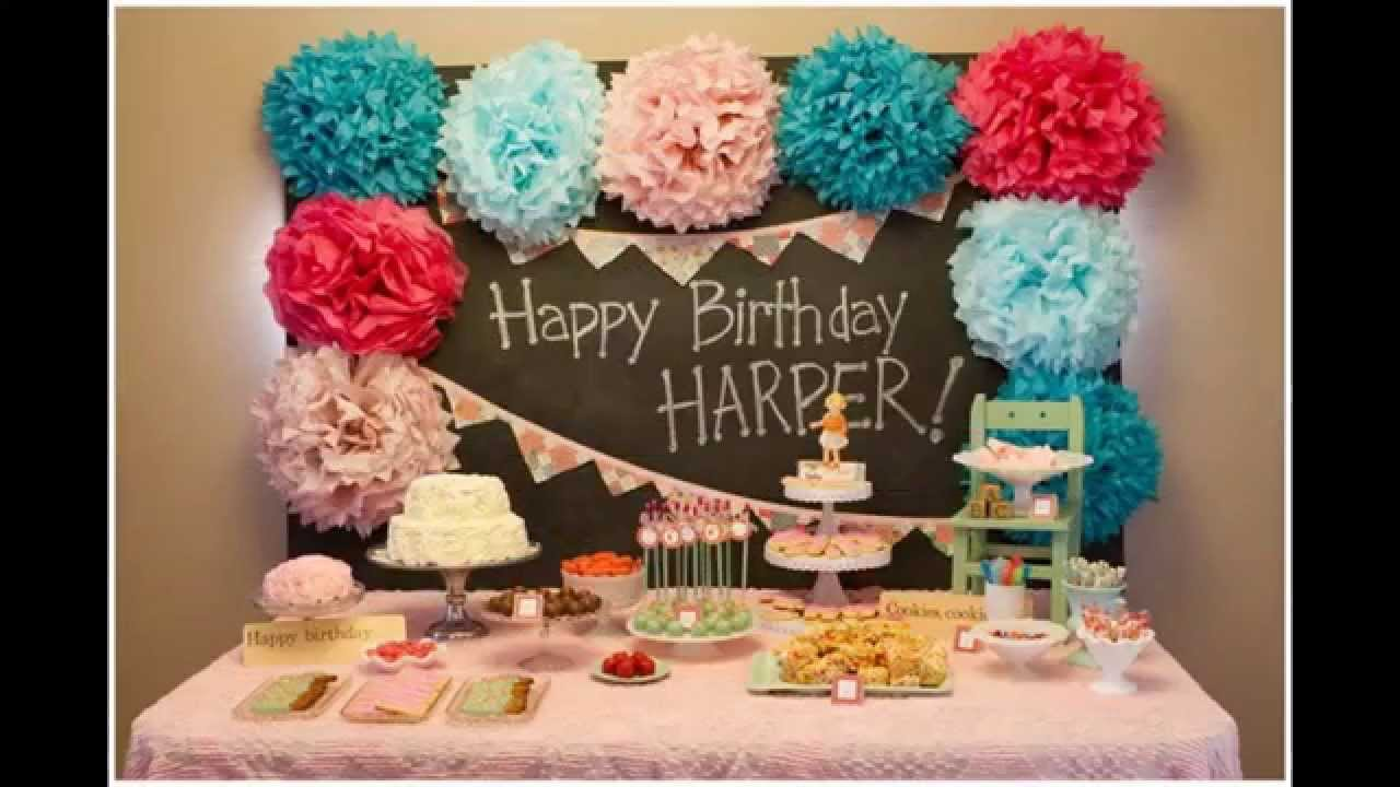 Baby girl first birthday party decorations at home ideas for Home decorations for birthday party