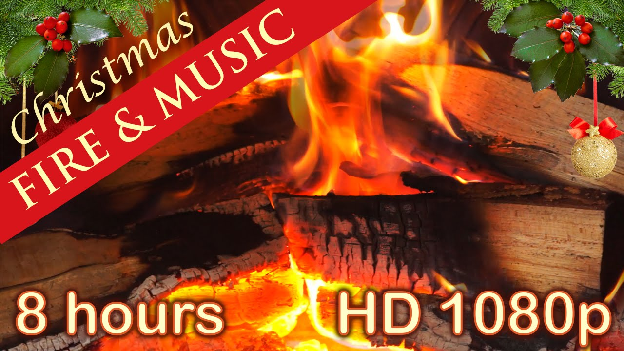 ☆ 8 HOURS ☆ CHRISTMAS MUSIC with FIREPLACE ♫ Christmas Music ...
