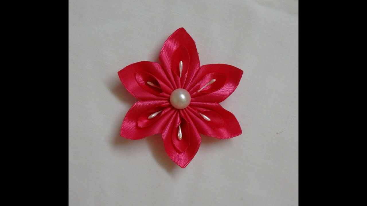 DIY Kanzashi flower easy ribbon flowers tutorial how to make kanzashi flore