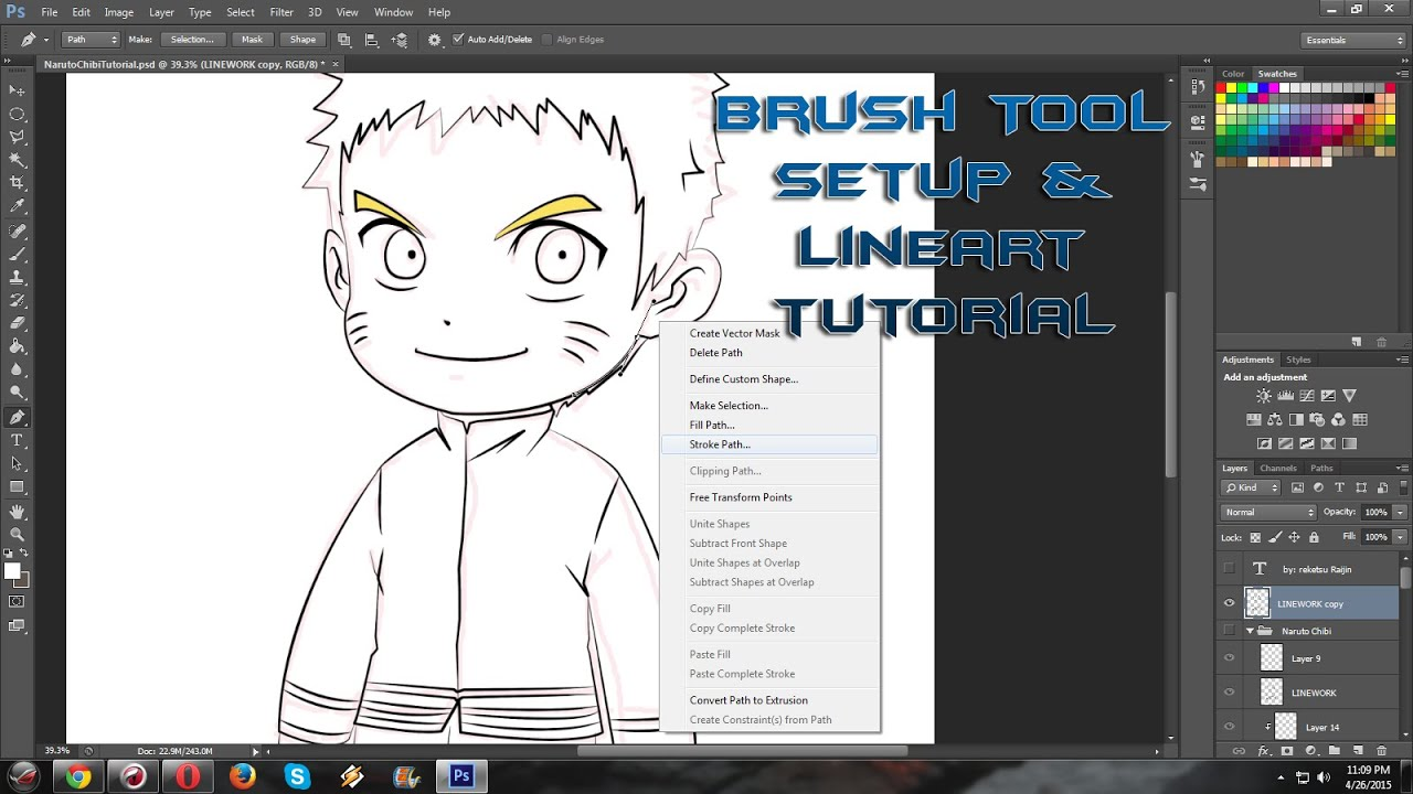 how to setup brush for anime linework in photoshop cs6 by using a