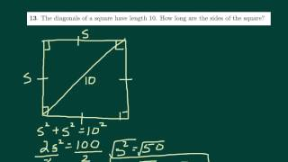 Finding Sides Square Given Diagonal