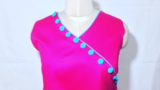 Neck Design with piping & buttons