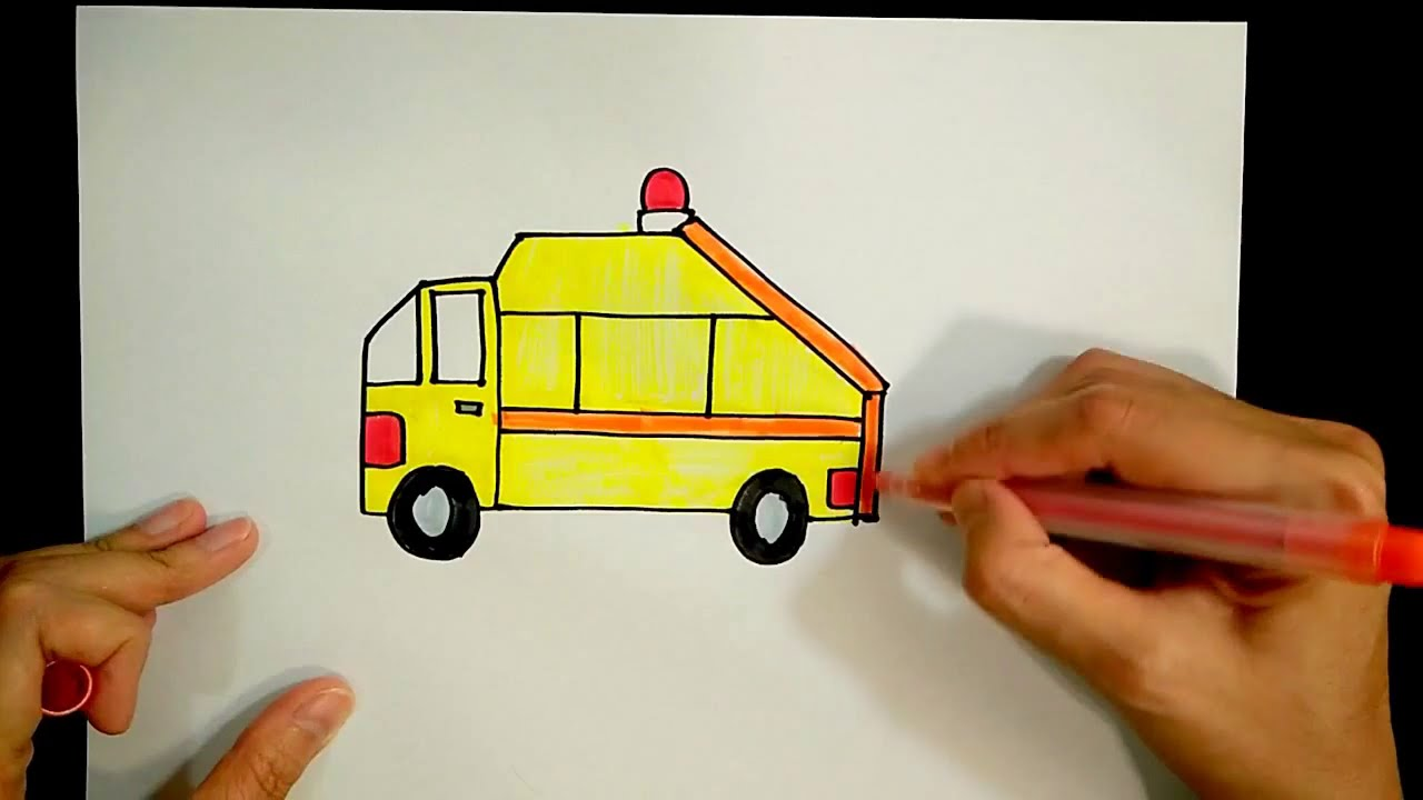 How to draw a garbage vehicle/ rubbish truck【Ginger's place 】