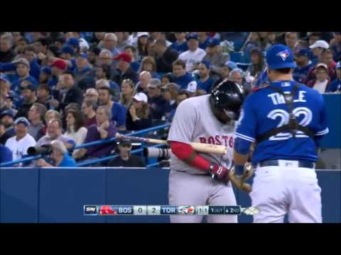 BOS@TOR: Pablo Sandoval breaks his belt while hitting