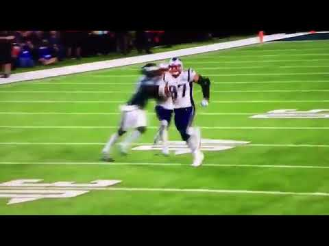 Missed Illegal Contact call on Eagles. Patriots Chris Hogan destroyed last play of Super Bowl