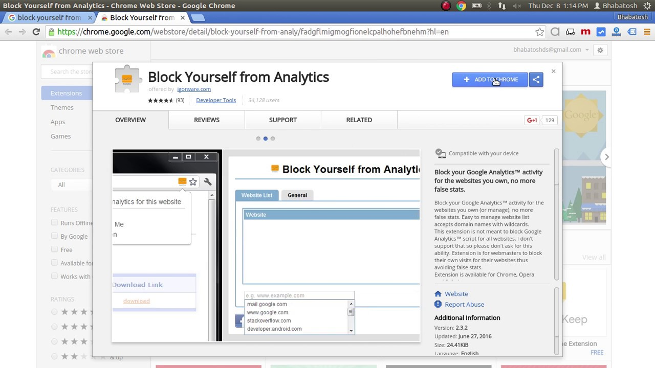 Block yourself from google analytics using browser plugins