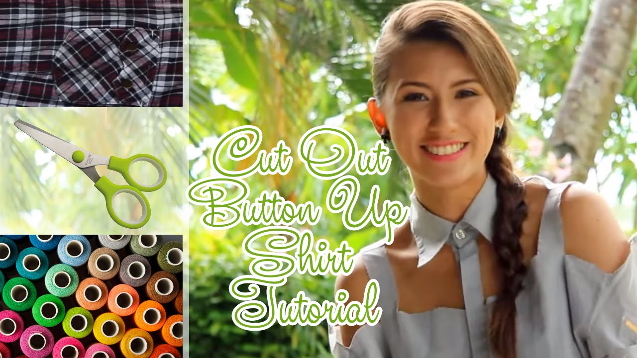 DIY: Renovate Your Old Polo Shirt - Cut Out Button Up Shirt Tutorial ...