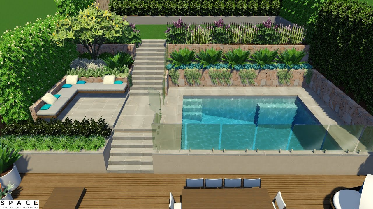 Terrace Garden With Swimming Pool. Space Landscape Designs