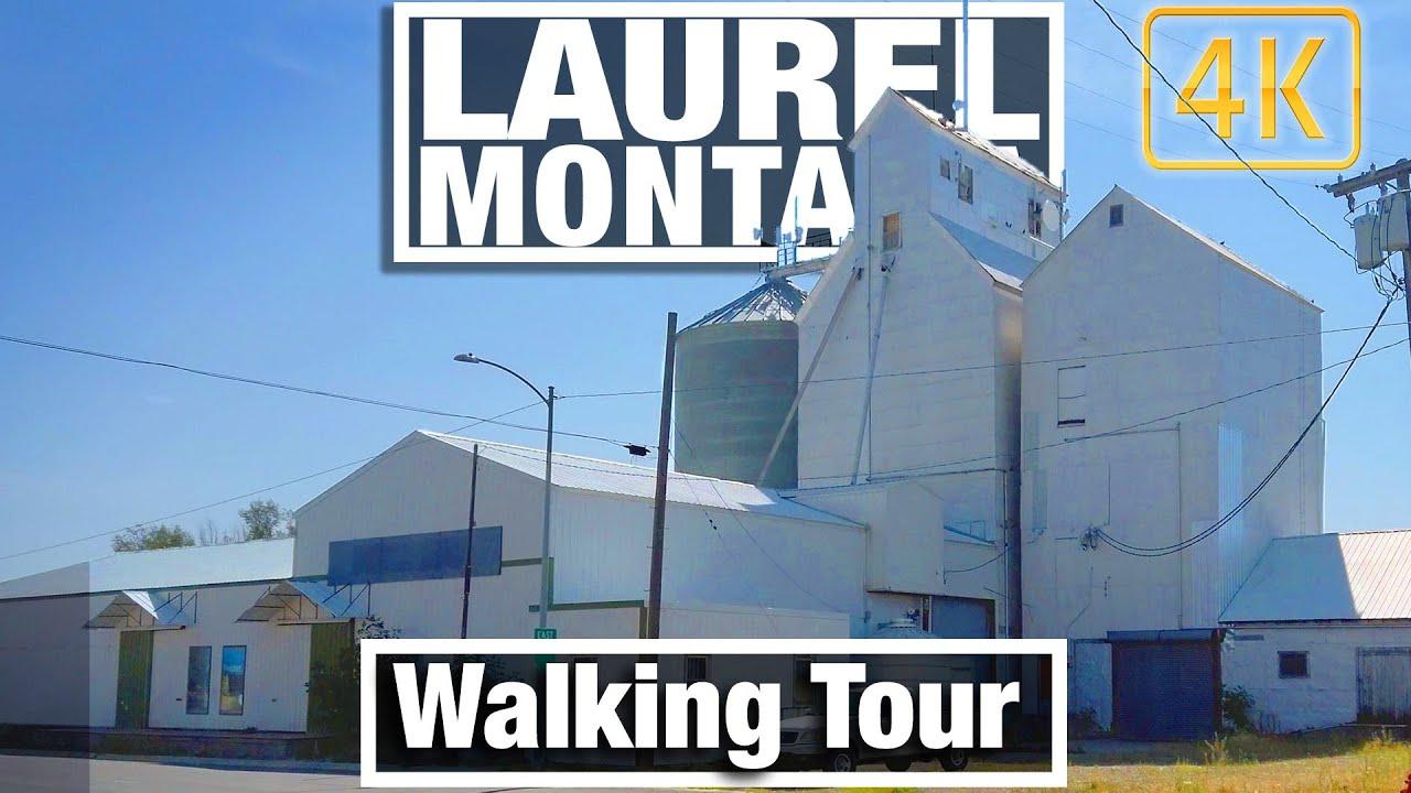 4K City Walks - Walking tour of Laurel MT - Railroad town -Virtual Travel Walking Treadmill Scenery
