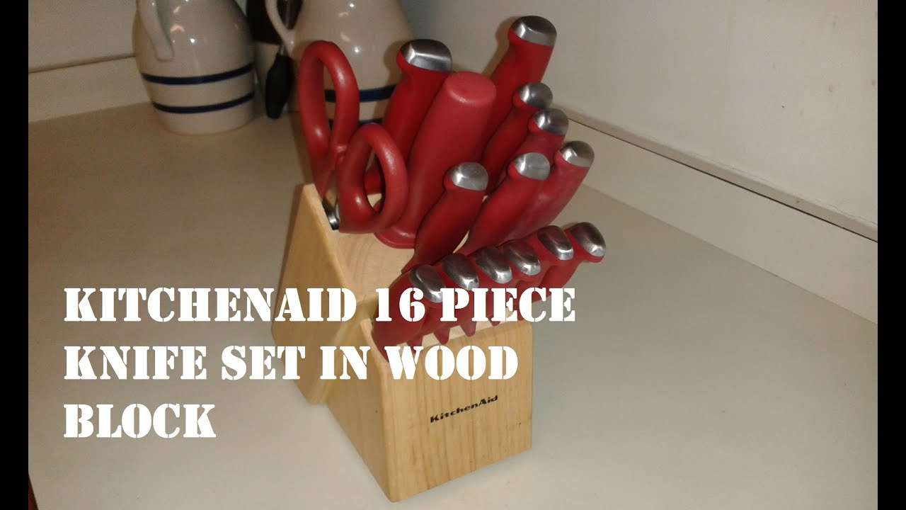 Kitchenaid Cutlery kitchenaid 16 piece knife set in wood block review - youtube