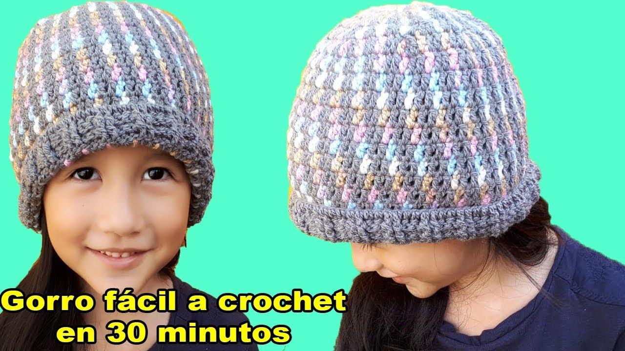 Gorro a crochet - tejido facil - punto fantasia 23c47b36ece