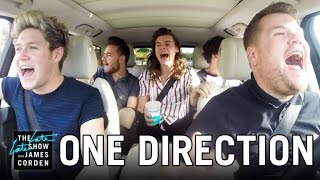 One Direction Carpool Karaoke(James Corden has Niall Horan, Louis Tomlinson, Liam Payne and Harry Styles join him for a carpool through Los Angeles singing some of their biggest songs ..., 2015-12-16T06:26:39.000Z)