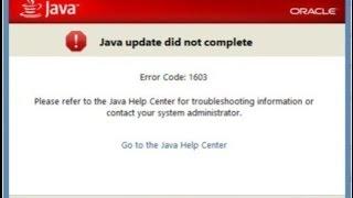 Что делать если при установки java выдаёт ошибку 1603! ответ тут