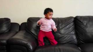 ONE YEAR OLD BABY DANCING ON SOFA (Diane Sijo)