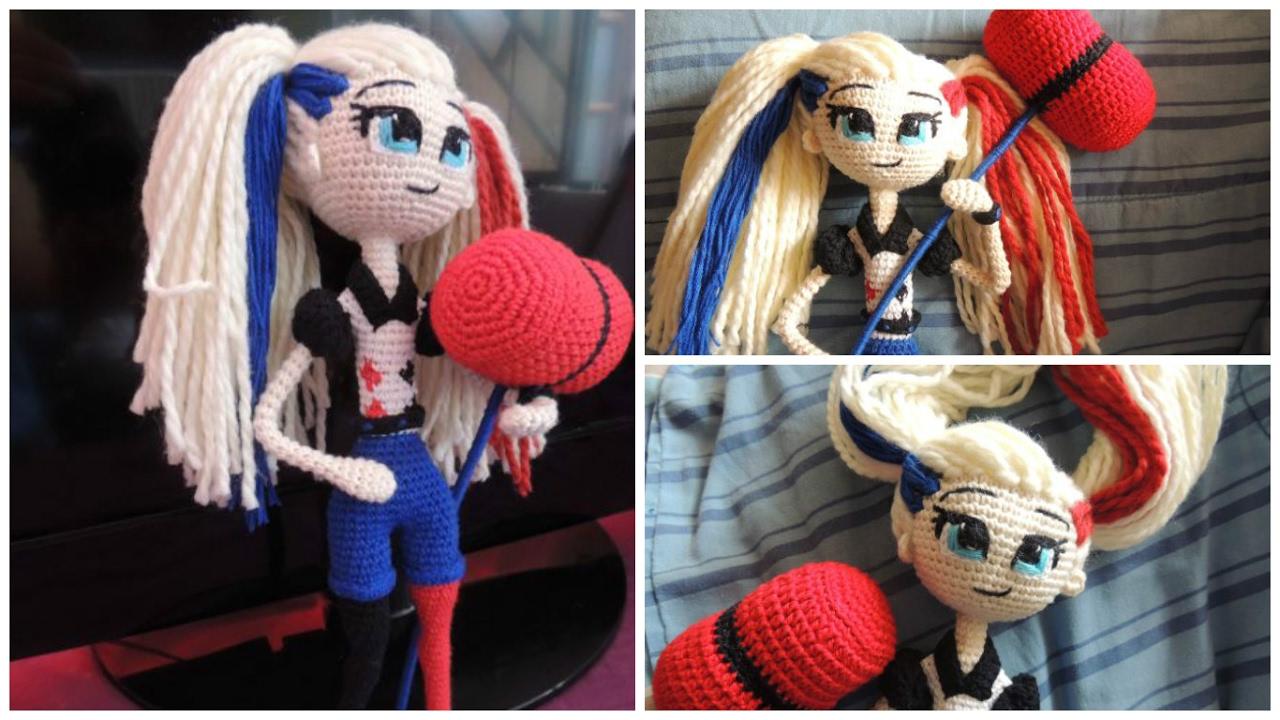 Harley Quinn Handmade Crochet Doll Bouquet Topper, Design & Craft ... | 720x1280