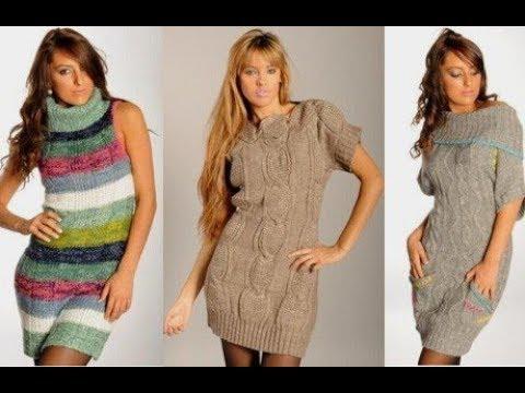 Стильные вязаные платья, вязание для женщин, вязаные платья спицами