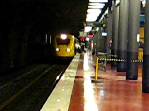 Arlanda Express train to Stockholm C. calling at Arlanda Södra station.