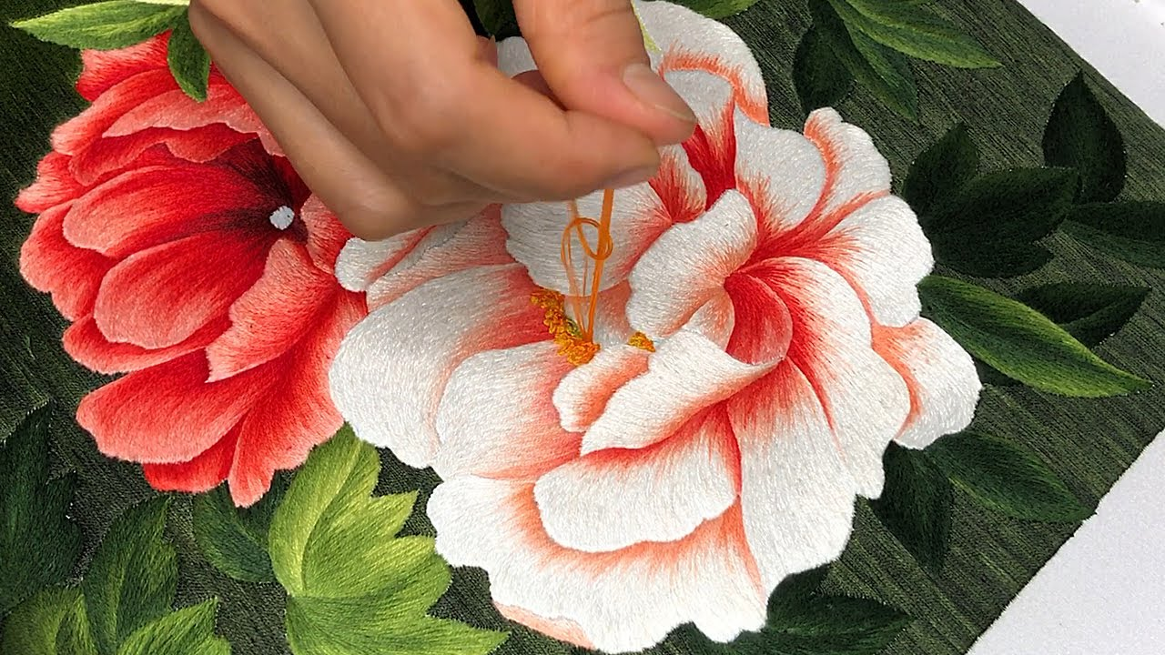 Vietnamese Girl with Hand Embroidery - Peony Flowers and Leaves Embroidery