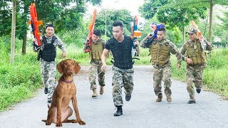 Battle Nerf War: Troop Man Nerf Guns Robber Group Rescue Pet Dog