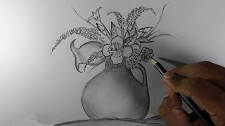 How to draw a flower vase - Pencil drawing