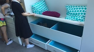 my partners cousin want a storage box/window seat put into the extra space in her bedroom to store shoes,linen,school supplies etc.