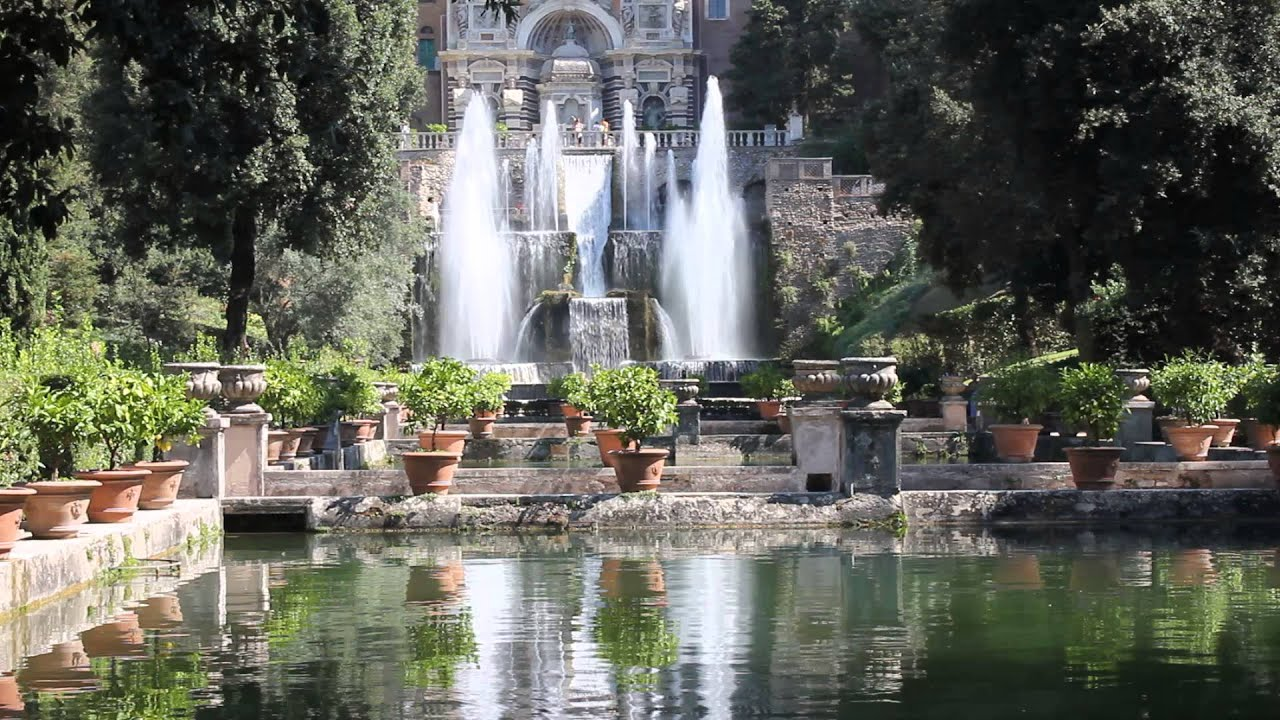 fountain at villa d 39 este in tivoli italy youtube. Black Bedroom Furniture Sets. Home Design Ideas
