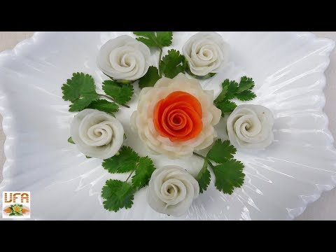 Artistic Of Carrot & Chinese Turnip Rose Flowers With Onion & Cilantro Designs.