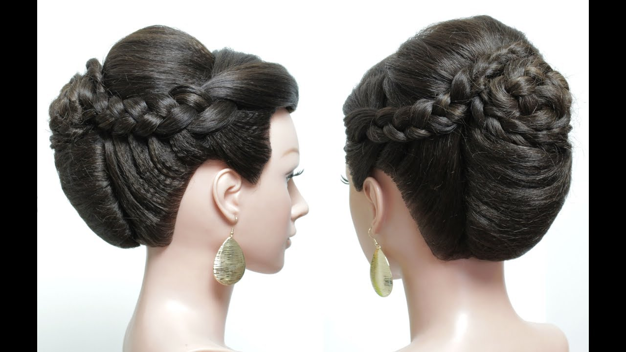 Bridal Hairstyle For Long Hair Tutorial Updo With French Roll And