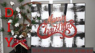 Dollar tree DIY buffalo check painting & Christmas floral centerpiece