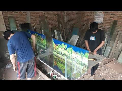 Pembuatan aquarium filter samping uk 100x40x40 kaca 5mili langsung 2unit(part 2)