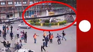 Népal : Debut Du Tremblement De Terre En Direct