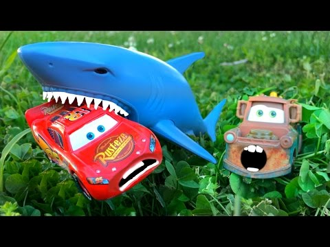 Disney Pixar Cars Lightning McQueen Dreams Chased Attacked Eaten By SHARK, Mater Rescues Cars Toys